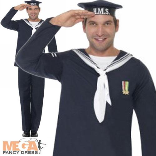 Image is loading Naval-Seaman-Mens-Fancy-Dress-1940s-Uniform-Costume-  sc 1 st  Ebay SG & Naval Seaman Mens Fancy Dress 1940s Uniform Costume 40s Outfit + Hat ...