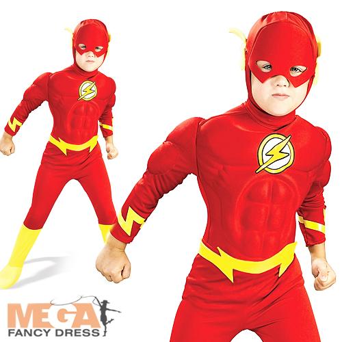 Image is loading Flash-Super-Hero-Boys-Muscle-Fancy-Dress-Kids-  sc 1 st  eBay & Flash Super-Hero Boys Muscle Fancy Dress Kids Costume Child Outfit ...