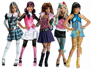 View Item Girl's Monster High Costume + Wig