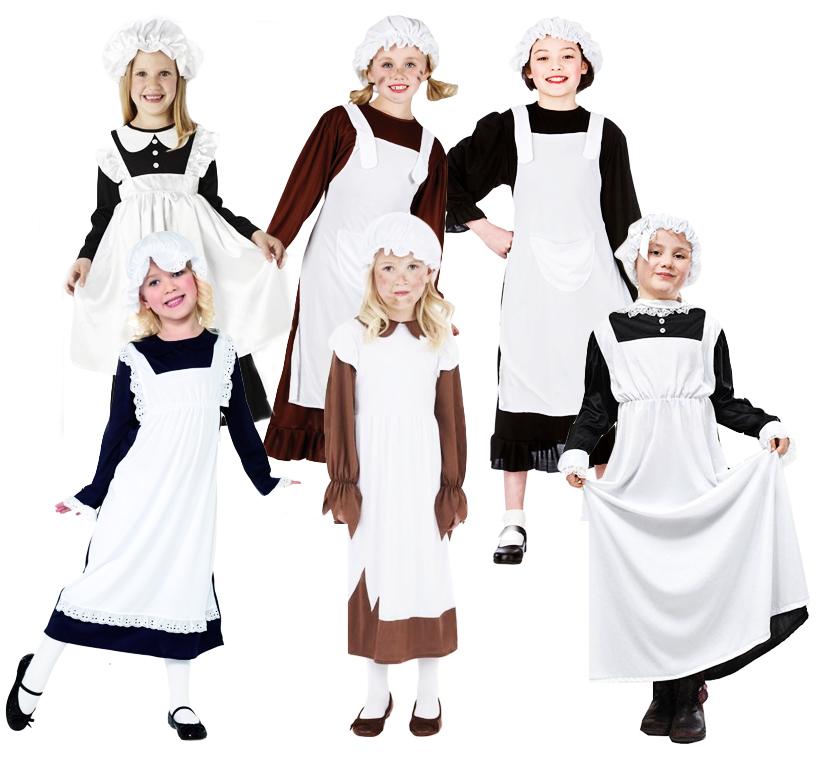 Victorian Poor Girls Fancy Dress Childrens Book Week Kid Child Character Costume