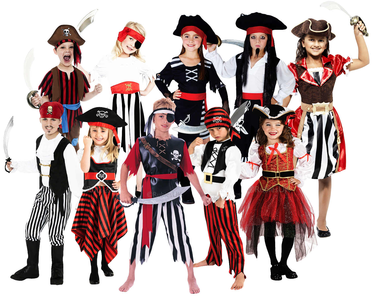 Pirate Kids Costume + Hat Book Week Boys Girls Halloween Fancy Dress Childs 3-8