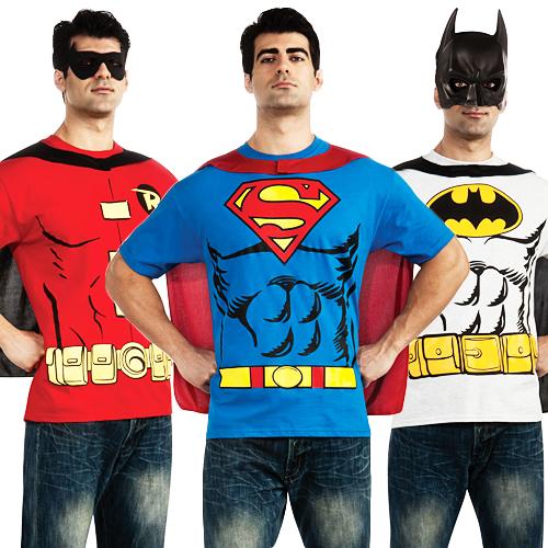 Superhero-Mens-T-Shirt-Cape-Set-Fancy-Dress-Costume-Super-Hero-Adult-Top-New
