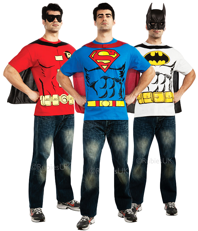 Superhero Mens T-Shirt & Cape Set Fancy Dress Costume Super Hero Adult Top New