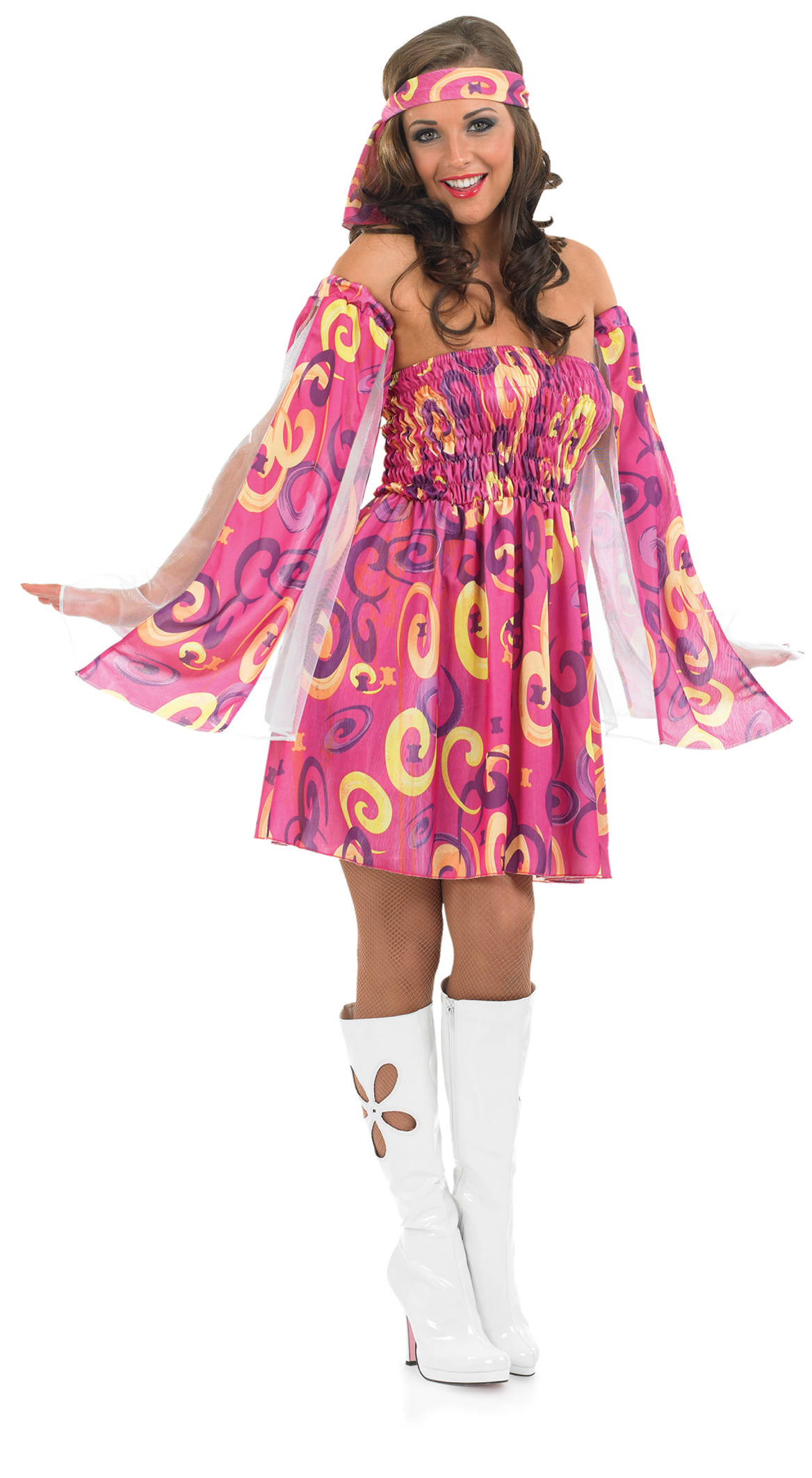 1960s pink swirl hippy fancy dress 60s hippie