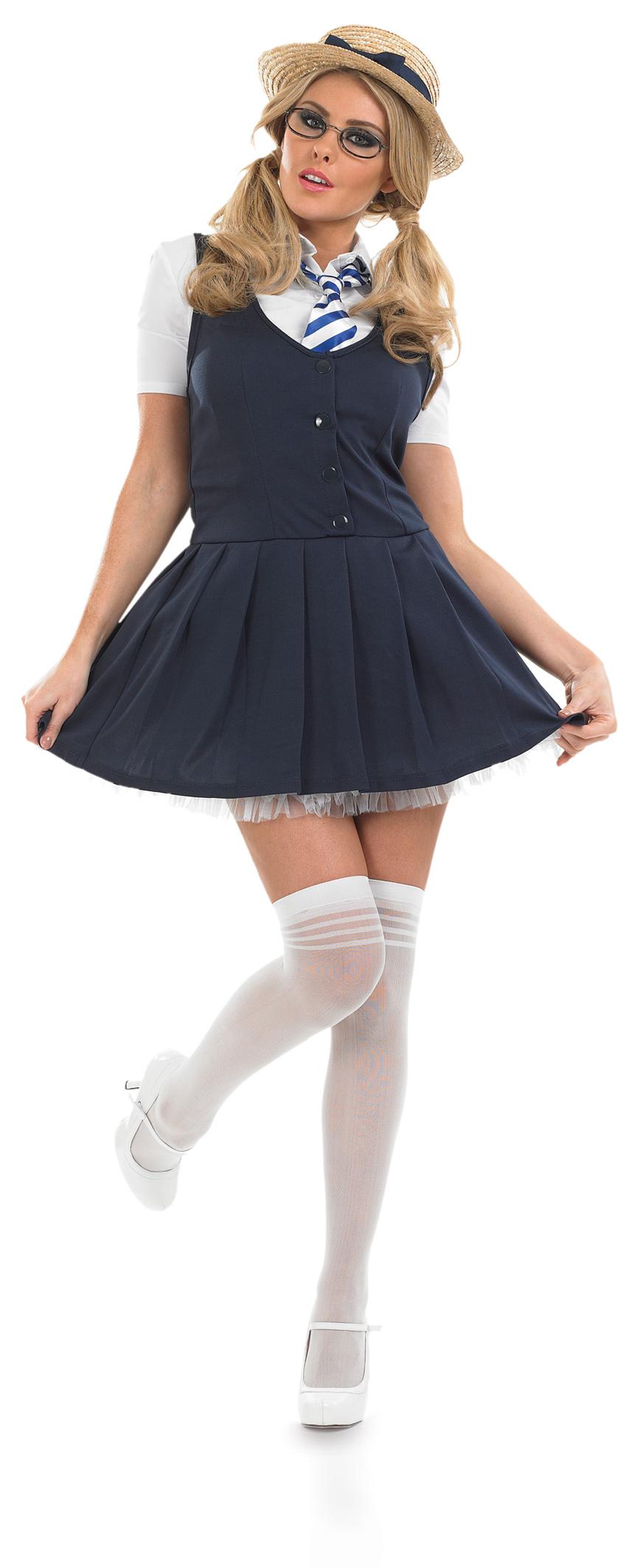 Sexy-School-Girl-Fancy-Dress-Uniform-Ladies-Costume-Adult-Outfit-Hat-UK-8-30