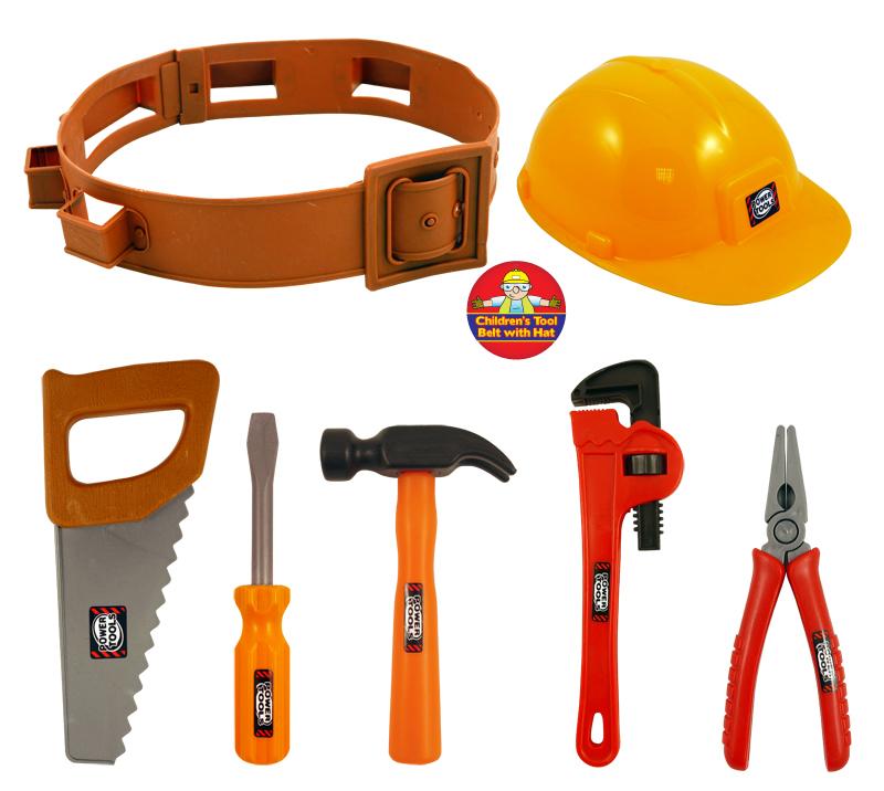 children 39 s construction builder tool belt set fancy dress kids costume accessory ebay. Black Bedroom Furniture Sets. Home Design Ideas
