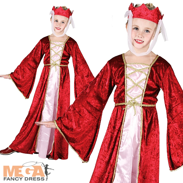 Medieval-Princess-Girls-Fancy-Dress-Tudor-Maid-Marion-Kids-Childs-Costume-Outfit