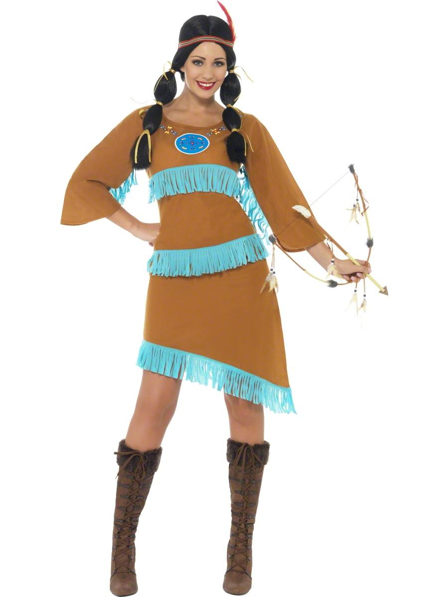 Indian-Princess-Ladies-Fancy-Dress-Womens-Western-Wild-West-Pocahontas-Costume