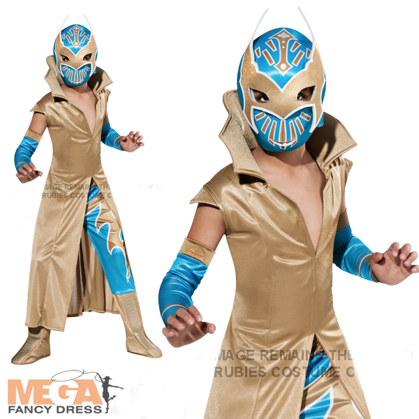 Image is loading WWE-Deluxe-Sin-Cara-Boys-Fancy-Dress-Wrestler-  sc 1 st  eBay & WWE Deluxe Sin Cara Boys Fancy Dress Wrestler Costume Sports Kids ...