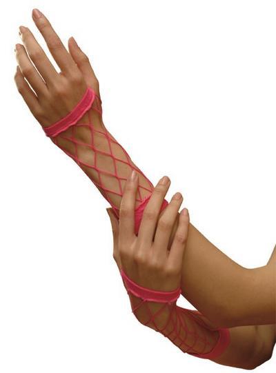 Neon Pink Fishnet Gloves