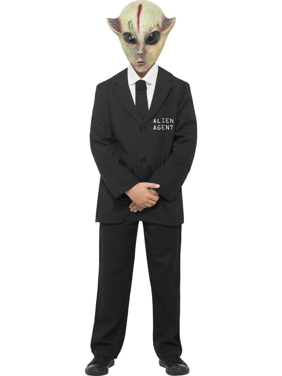 Alien Agent + Mask Boys Fancy Dress Men in Black Halloween Kids ...