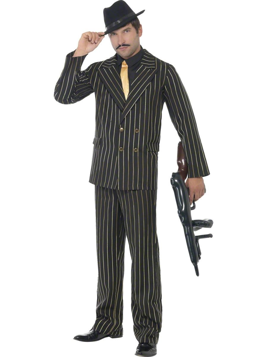 gold pinstripe gangster suit mens fancy dress 1920s adults