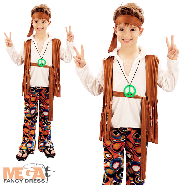 hippy boy costume groovy 1960s hippie child kids 60s 70s