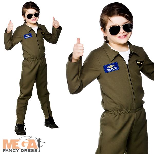 Image is loading Airforce-Hot-Shot-Flightsuit-Boys-Fancy-Dress-Uniform-  sc 1 st  eBay & Airforce Hot Shot Flightsuit Boys Fancy Dress Uniform Kids Top Gun ...