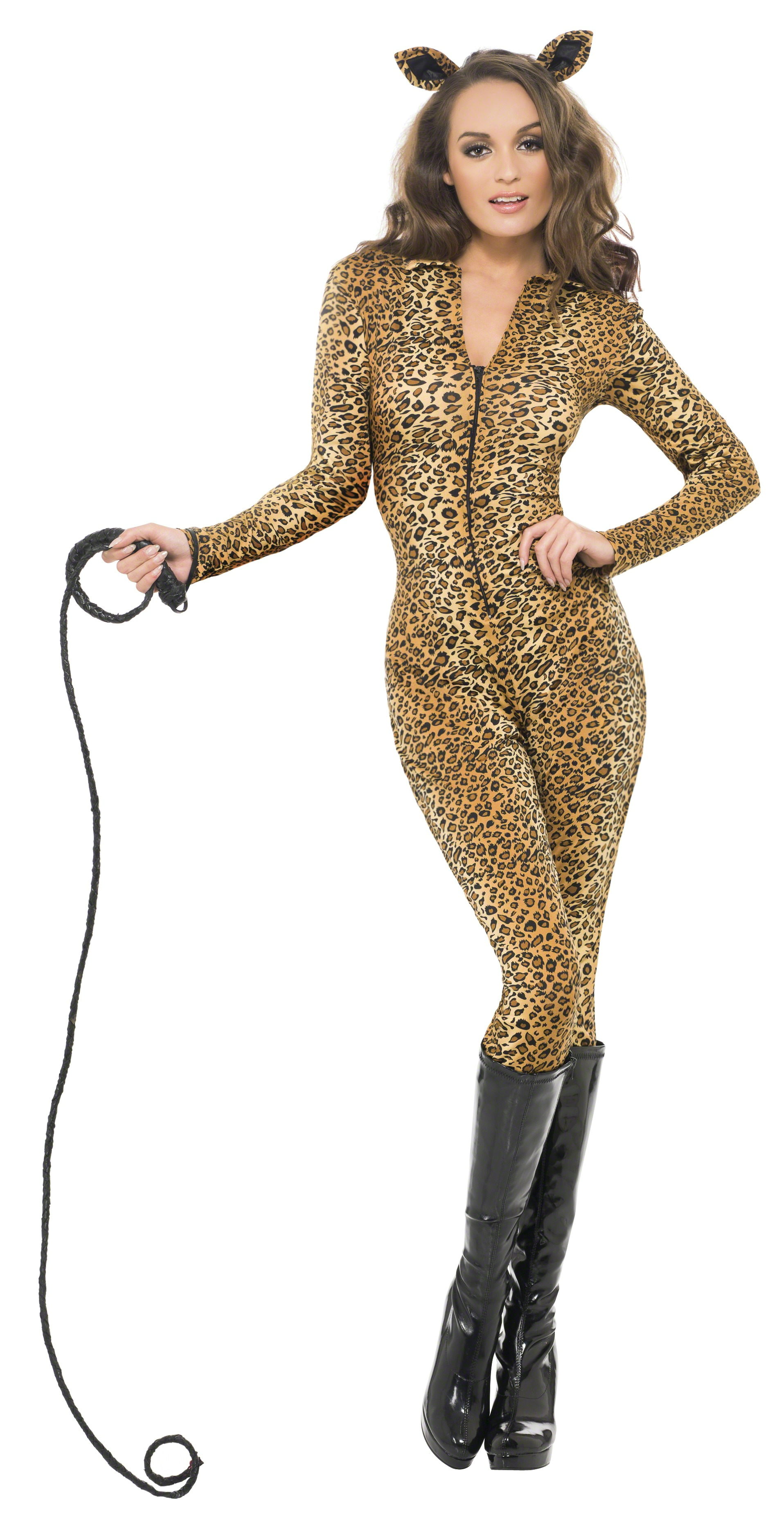 Rule over the animal kingdom in this Leopard Princess costume featuring a romper with a plunging neckline, a lace-up front closure, long sleeves with faux fur leopard cuffs, a cheeky cut back with a faux fur trim, an attached furry hood with leopard ears, and a removable tail.