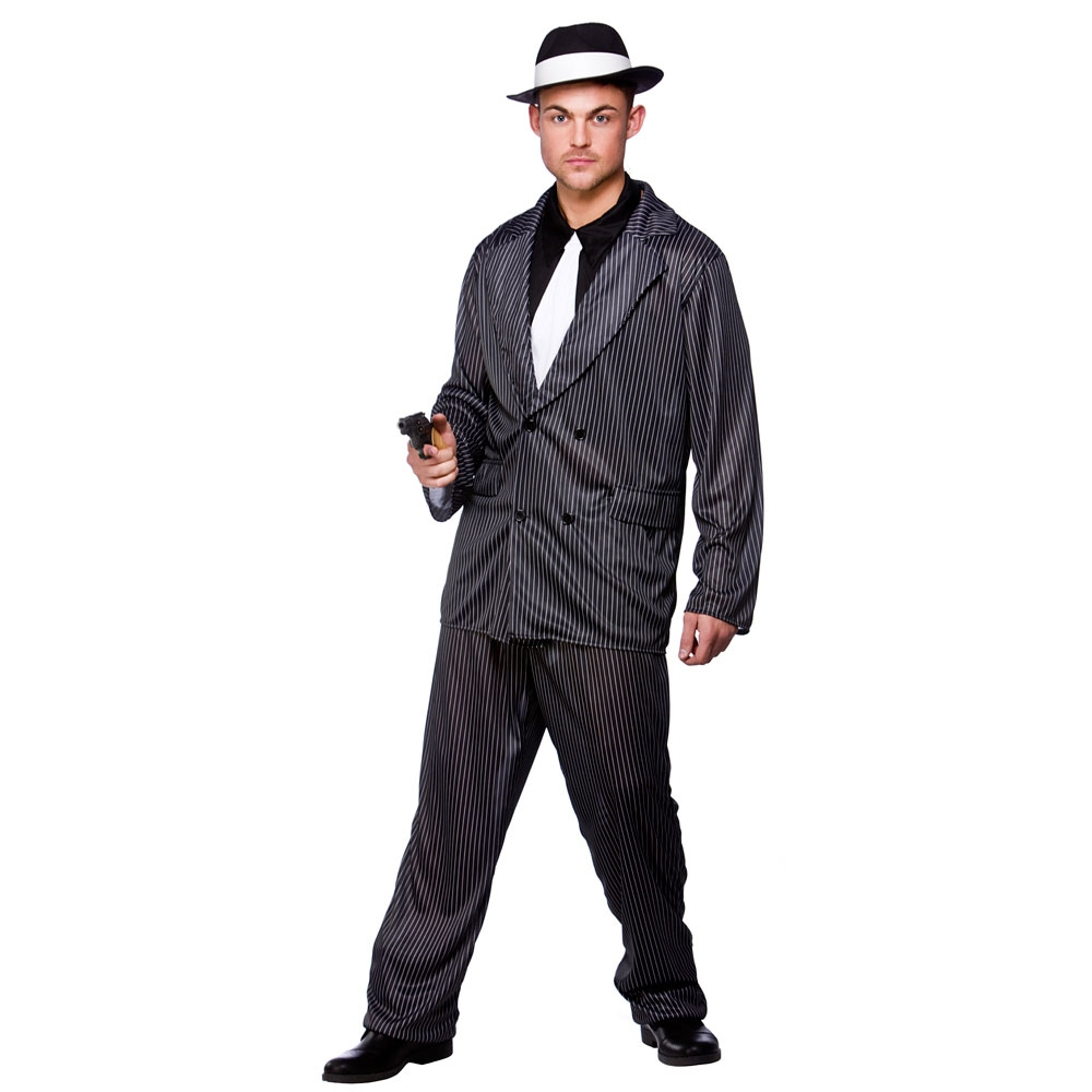 1920s Gangster Mafia Zoot Suit Outfit Smiffys Fancy Dress Costumes