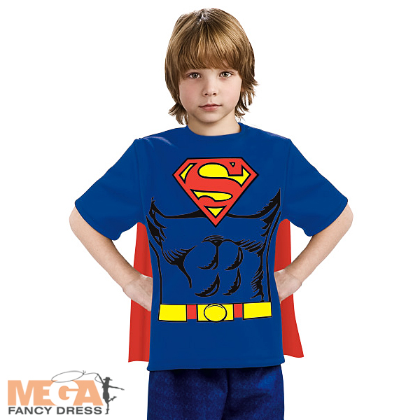 Superman boys t shirt cape superhero fancy dress kids Boys superhero t shirts