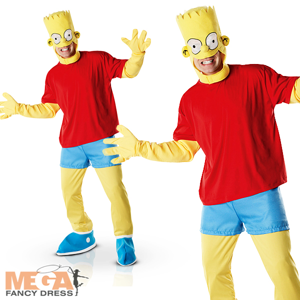 1980 S Cartoon Characters : Bart simpson mens fancy dress tv cartoon character s