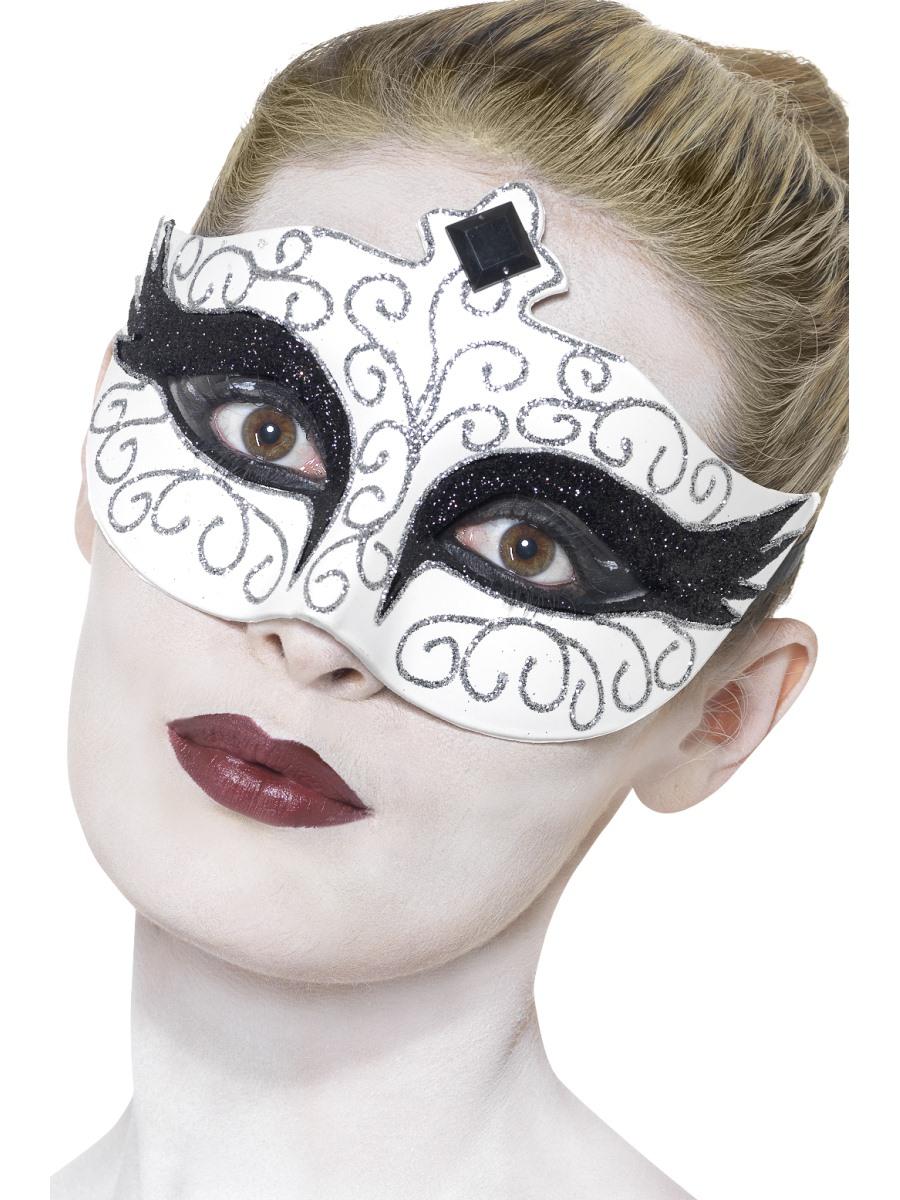 Gothic Black Swan Halloween Eye Mask Ladies Masquerade Fancy Dress ...