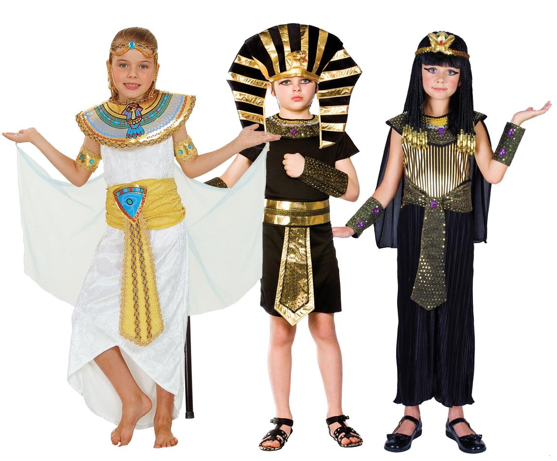 Egyptian Kids Costumes + Headpiece Cleopatra or Pharoah Egypt Childs ...