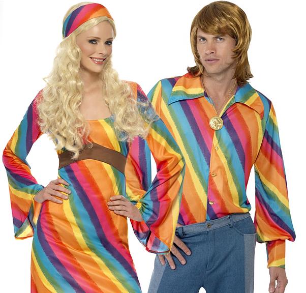 Rainbow hippie 60s 70s fancy dress 1960s 1970s hippy adults retro
