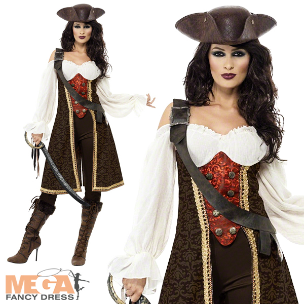 Pirate-Wench-Hat-Ladies-Fancy-Dress-High-Seas-Caribbean-Womens-Costume-Outfit