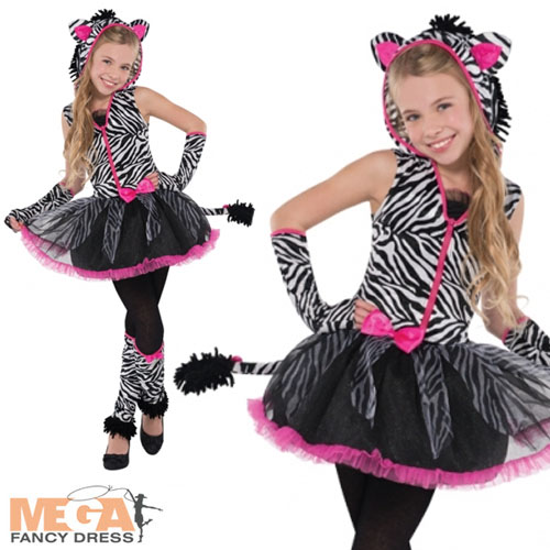 Sassy Stripes Zebra Girls Fancy Dress Animal Halloween Childrens Kids Costume