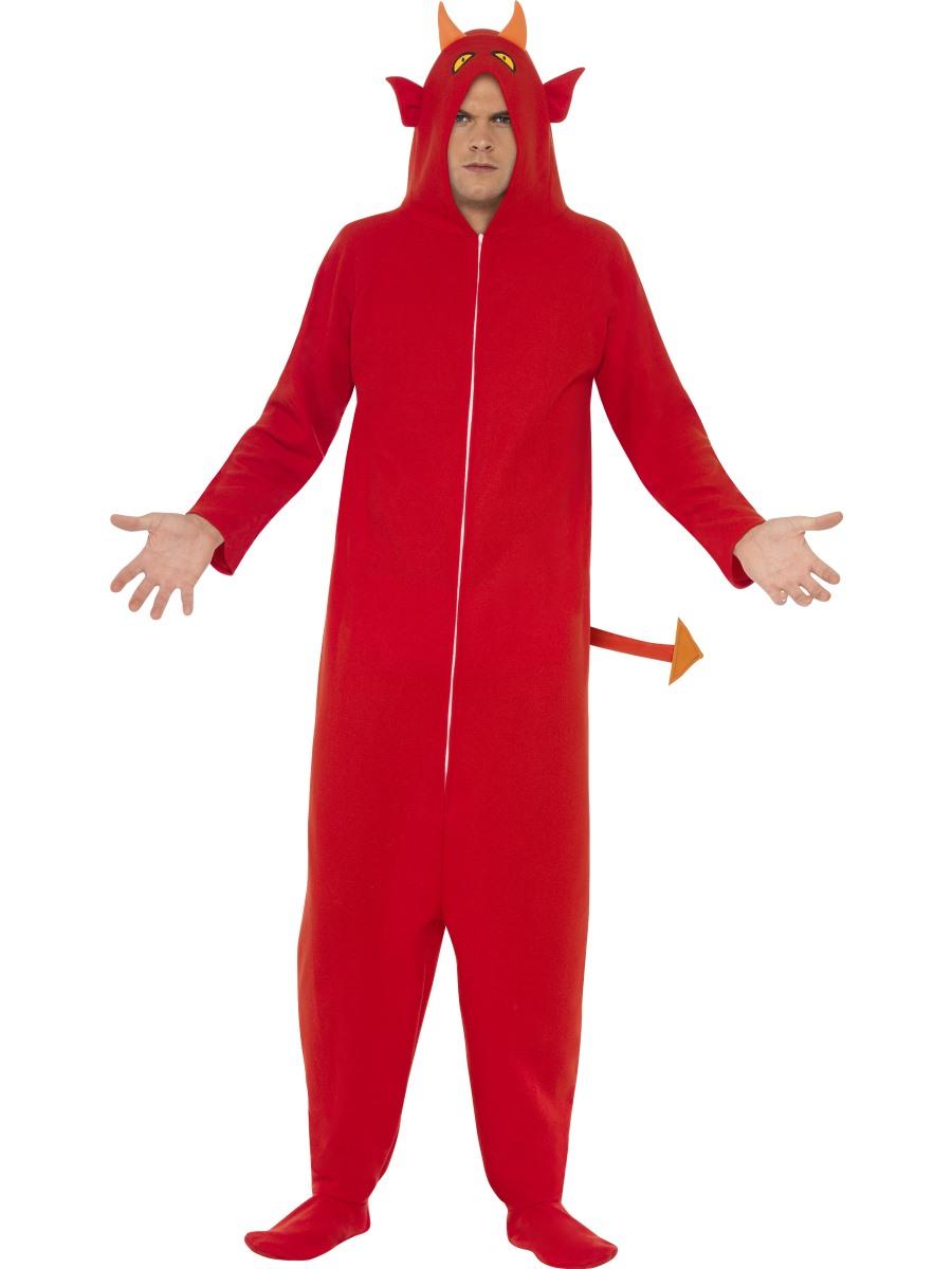 Devil Or Skeleton Onesie Fancy Dress Mens Teens Halloween