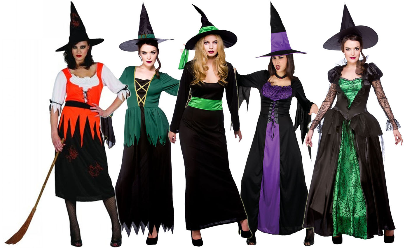 Witch Costume + Hat Ladies Fancy Dress Halloween Long Witches Womens Outfit 6-28
