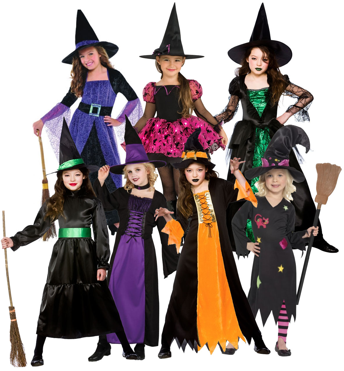 Girls Witches Costumes + Hat Fancy Dress Halloween Childrens Kids ...