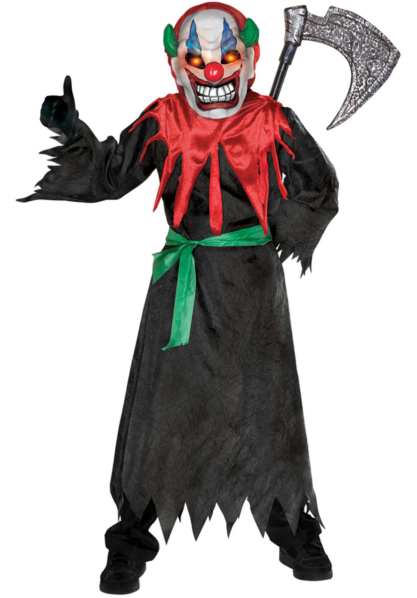 Halloween Horror Boys Fancy Dress Light Up Scary Skull Clown Kids ...