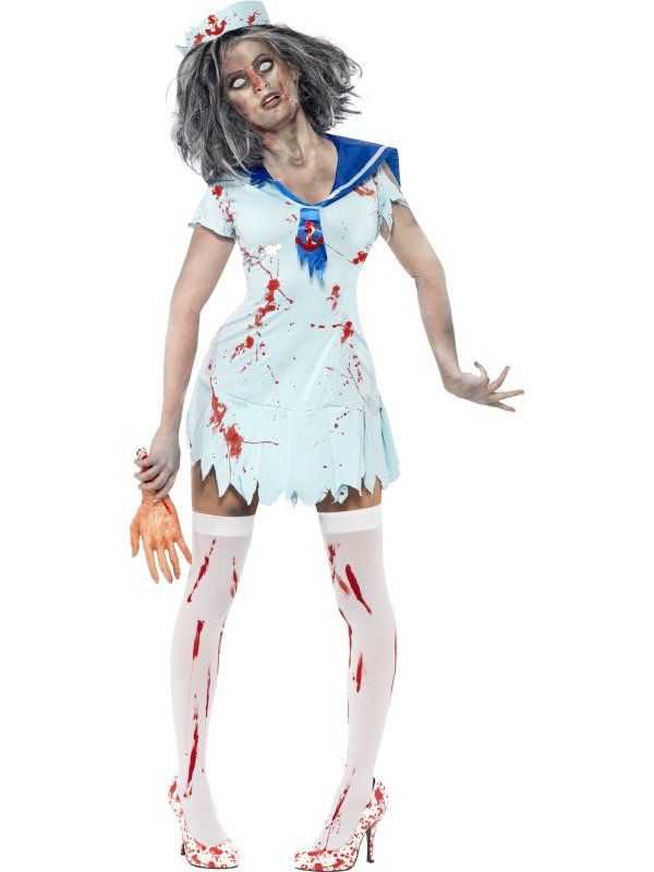 Amazing Girls Can Show Their Rebellious Team Spirit In This Cheerless Zombie Costume From Our Halloween Collection Each Frightening Outfit Includes A Tattered, Blood Drenched Top With Draping Gauze Fabric To Shoulders And Print Detail To Front,