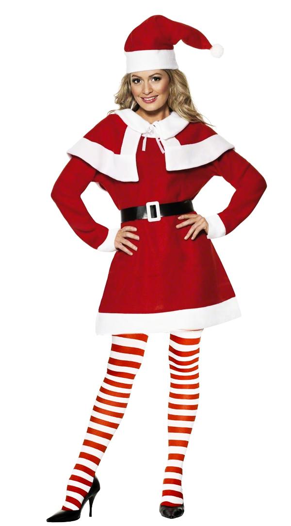 Miss santa claus tights ladies fancy dress christmas
