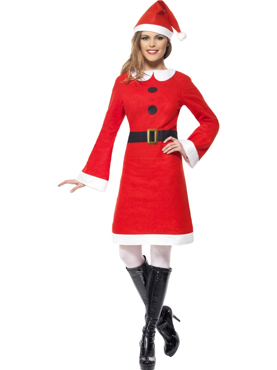 Claus hat tights ladies christmas fancy dress costume xmas outfit