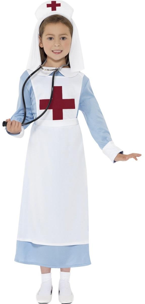 WW1-Nurse-Dress-Hat-Girls-Fancy-Dress-Uniform-Kids-Childrens-Costume-Outfit