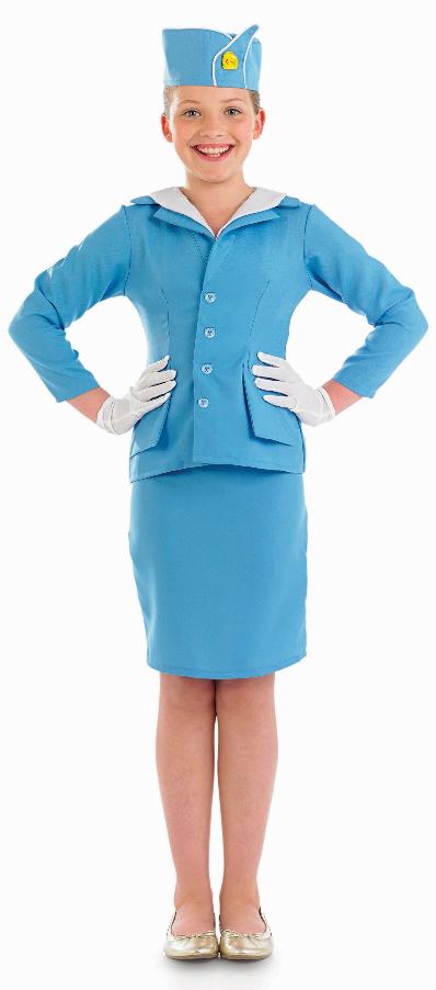 Air Hostess Girls Fancy Dress Airline Cabin Crew Uniform