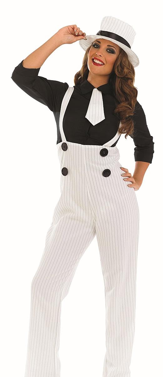 1920s White Gangster Hat Ladies Fancy Dress 20s Mafia Womens Costume Outfit | eBay