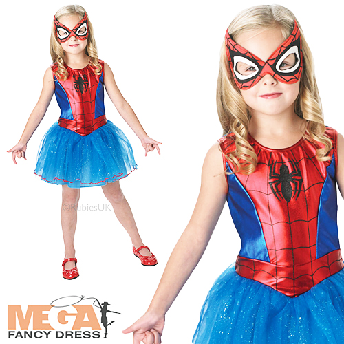 Spidergirl-Dress-Girls-Fancy-Dress-Superhero-Marvel-Childs-Kids-Costume-Outfit