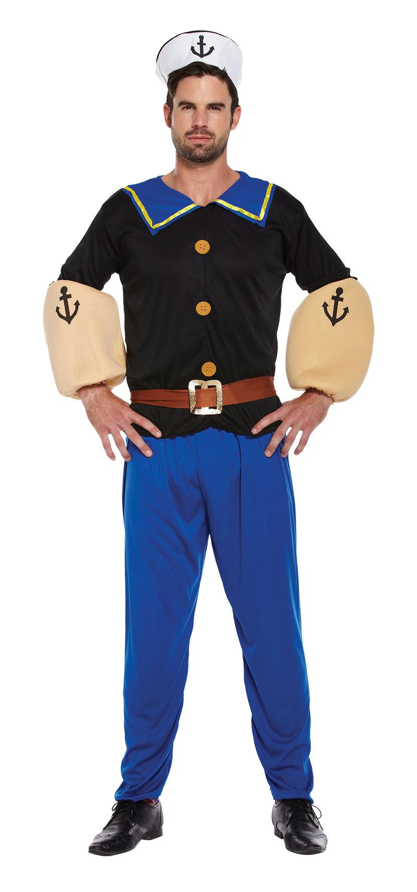 Strong Sailor Man Fancy Dress Cartoon Mens 80s Adult 1980s ...