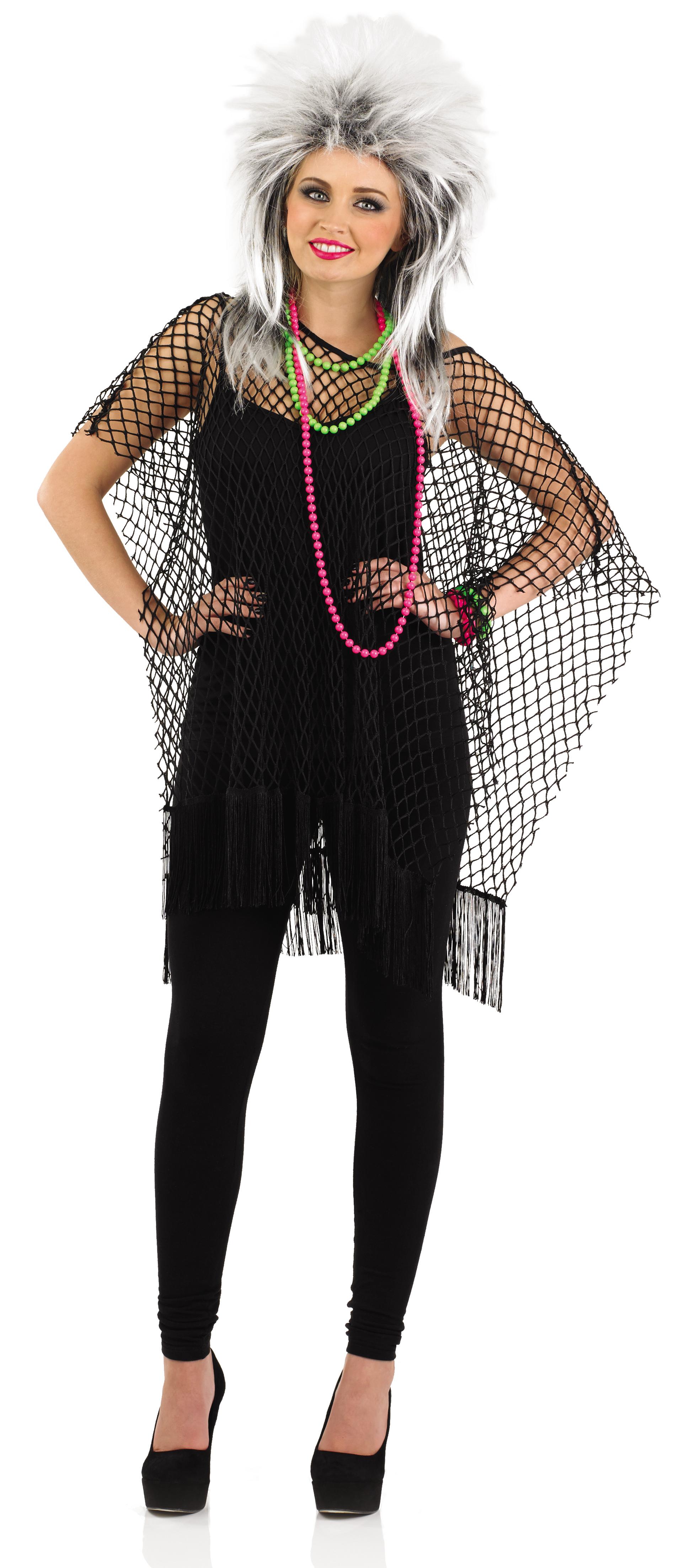 1980s black long mesh top ladies fancy dress 80s pop star punk fishnet