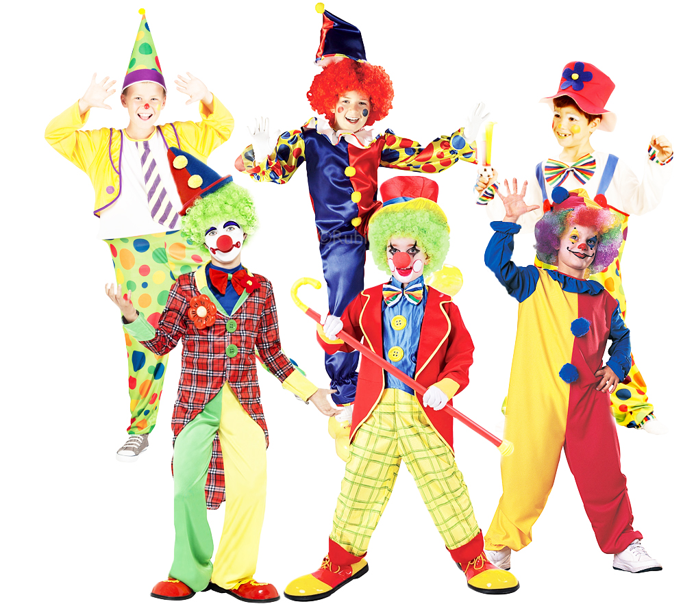 Circus Clowns + Red Nose Boys Fancy Dress Carnival Comedy ...