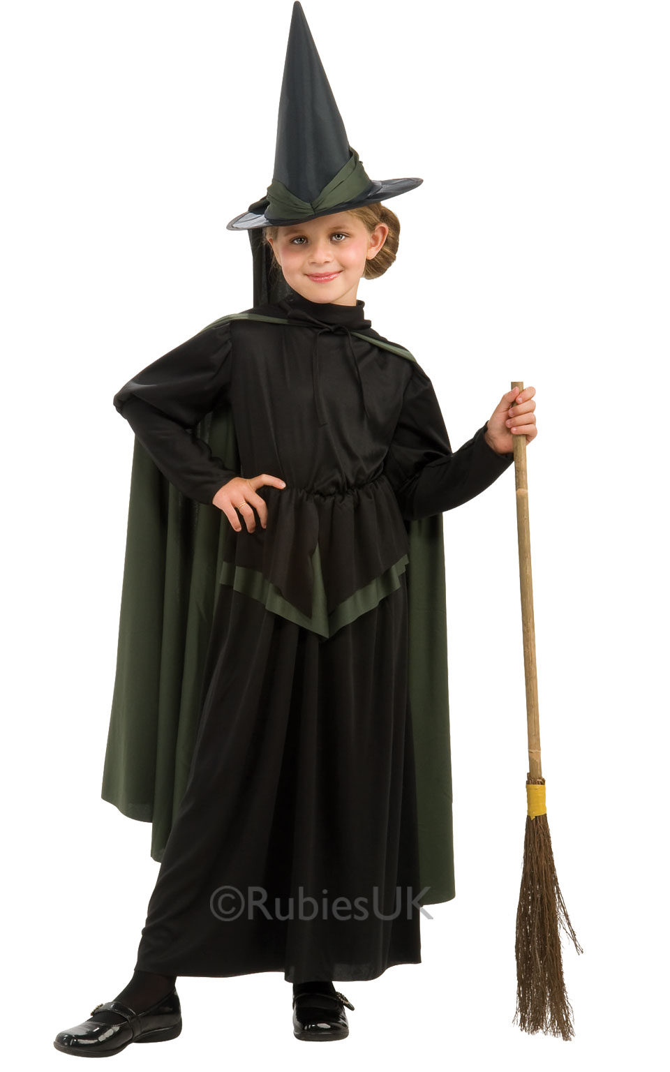 Wicked Witch + Hat Girls Fancy Dress Wizard of Oz Kids Childrens ...