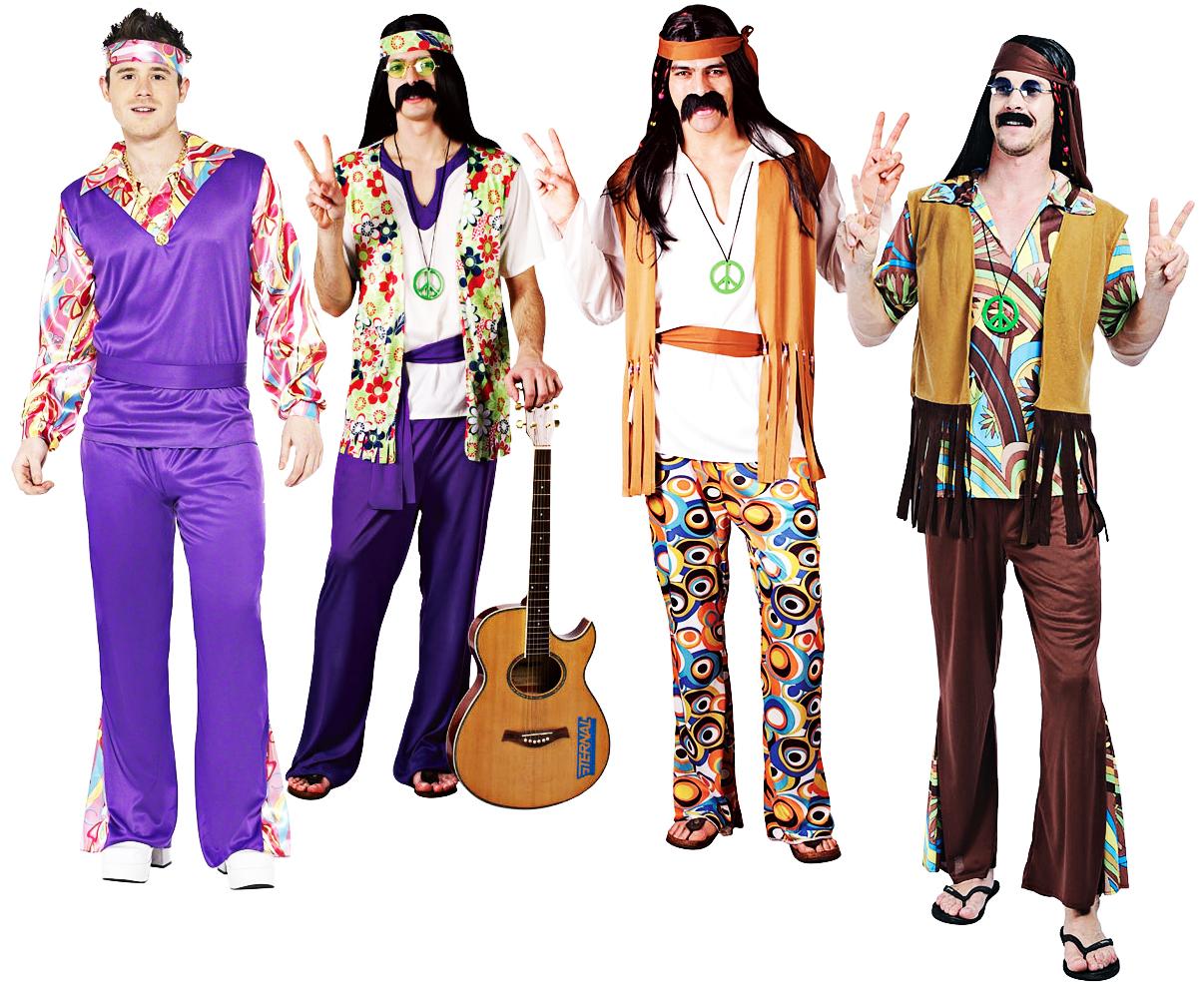 1960s Hippy Mens Fancy Dress Retro Groovy 60s Hippie Psychedelic Adults Costume Ebay