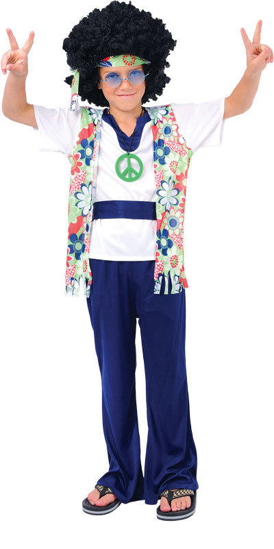 Boy's 1960s Hippie Dude Fancy Dress Costume
