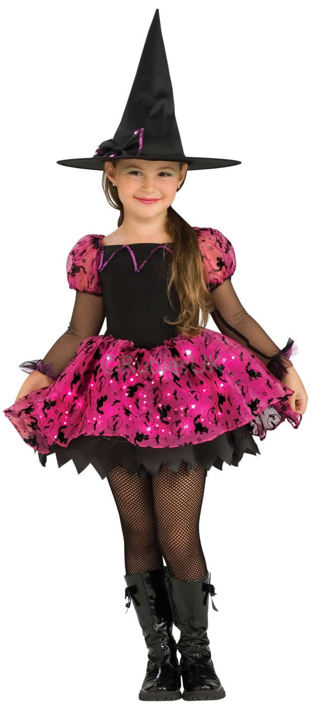Halloween Witch + Hat Girls Fancy Dress Up Horror Kids Childrens ...