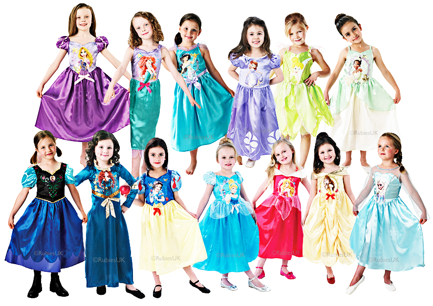 Disney Princess Girls Fancy Dress Fairytale Book Week Kids Childrens Costumes