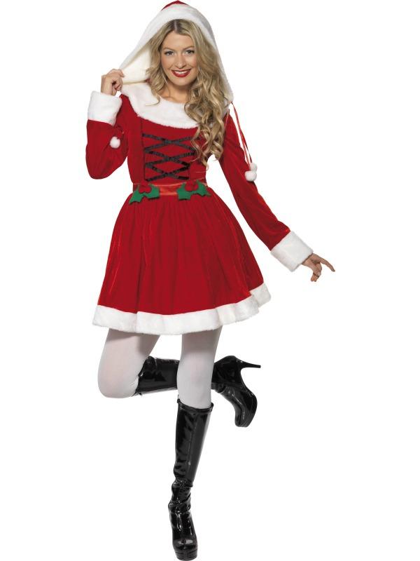 Miss santa ladies christmas fancy dress hooded costume outfit uk 8 16