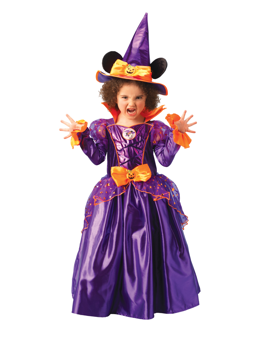 Minnie Mouse Witch Halloween Fancy Dress Girls Kids Disney Costume ...