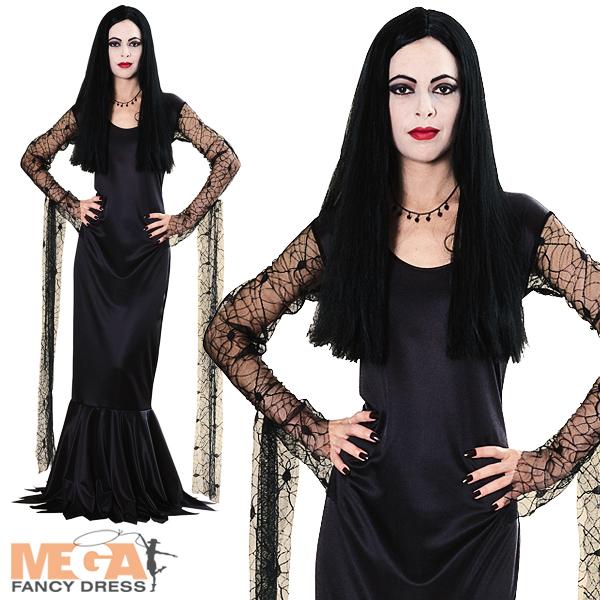 Morticia-Adams-Halloween-Fancy-Dress-Ladies-Costume-NEW