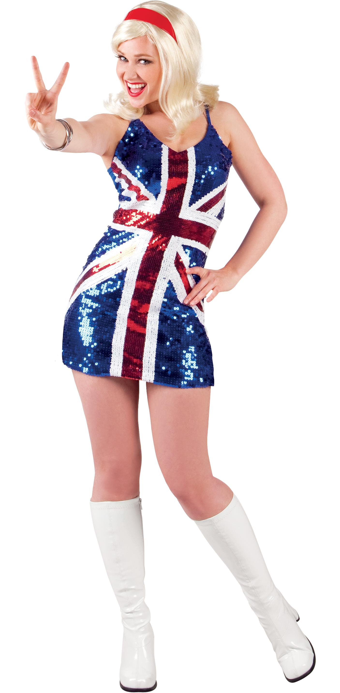 1990s Sequin British Flag Ladies Fancy Dress 90s English ...  1990s Sequin Br...